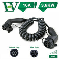 EV Coiled Charging Cable 16A Electric Car Charger Type2 1Phase 3.6KW Level2 EVSE
