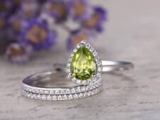 1Ct Created Green Peridot Diamond Engagement Bridal Set Ring White Gold Finish