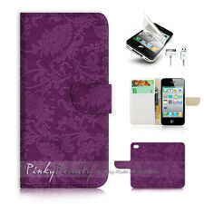 ( For iPhone 4 / 4S ) Wallet Case Cover! Purple Damask Pattern P0541