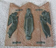 BRONZE/WOOD Tri Fold ICON SCULPTURE PLAQUE Marti Nuet,Spain,Signed,Virgin Mary