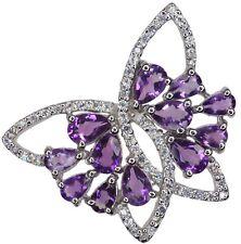 Amethyst Gemstone Butterfly Design Sparkling Sterling Silver Pendant + Chain