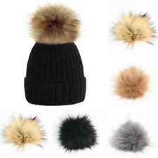 DIY Large Faux Raccoon Fur Pom Pom Ball with Press Button for Knitting Hat @Y