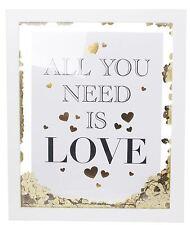 En bois or coeur confettis décoration cadre 32cm ~ all you need is love