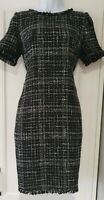 Womens Phase Eight Black Grey Check Boucle Wool Mix Shift Dress With Pockets 8.