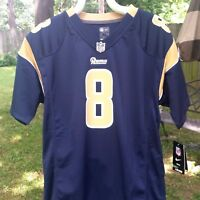 NIKE NFL Rams #8 Bradford Youth XL Athletic Jersey Navy Gold Players on Field