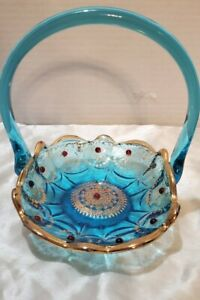 Vintage Venetian Art Glass blue & gold Basket with Red Cabochons applied handle