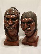 "Vintage Aymara Natives Couple Carved Wood - Signed Arias 12"""