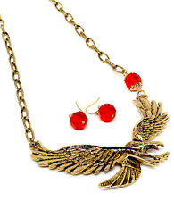 New Statement Gold Tone Metal Red Bead Eagle Bird Necklace Earring Set