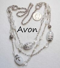 Frosted Acrylic Beads w/Leaves & Rs Unusual Signed Avon 3-Strand Necklace, Large
