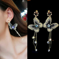 Fashion Embroidery Butterfly Crystal Long Tassel Dangle Stud Earrings Jewelry
