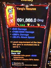 DIABLO 3 MODDED PRIMAL ANCIENT WEAPON YANGS RECURVE HIGHEST DPS XBOX ONE