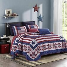 AMERICAN STAR Twin (single) QUILT SET : RED WHITE BLUE FLAG COUNTRY PATRIOTIC