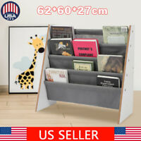 Kids Book Shelf Storage Rack Organizer Bookcase Display Holder Magazine 4 Pocket