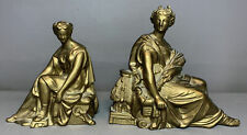 (2) Antique 19thC Victorian Grecian Style Lady Statue Old Mantel Clock Sculpture