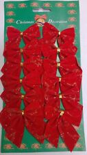 Christmas Tree Bow Tie Decorations pack of 12 Red Glitter Gold Uk Stock