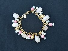 Premier Designs Jewelry Gold Plated Faux Pearls & Pink Beads Bracelet