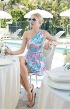 $328 Trina Turk one shoulder silk print zig zag  dress 12 L new