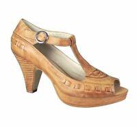 Wittner Brand Women's Tan Buckle Classic T Bar Peep Toe Heels Size 40 NEW