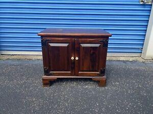 Ethan Allen Dark Antiqued Pine Old Tavern Console Record Cabinet