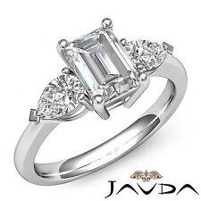 Women's 3 Stone Emerald Diamond Engagement Ring GIA I VS2 14k White Gold 1.5 ct