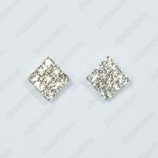 Square with Crystals Magnet Stud Earrings - Magnetic Mens Womens Fashion - NEW