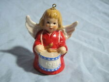 1984 Goebel Angel Bell Ornament Red With Drum Free Shipping