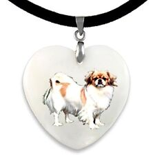 Tibetan Spaniel Mother Of Pearl Natural Shell Heart Pendant Necklace PP281