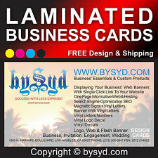 100 CUSTOM BUSINESS CARDS: COLOR PRINTED ON 1 & LAMINATED ON 2 SIDES (3 mil)