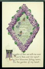 BIRTHDAY GREETING Thoughts of Thee are With Me Ever VIOLET TRIANGLE Postcard