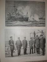 HMS Camperdown shelling insurgents of Crete Greece 1897 old print
