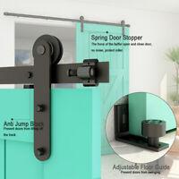 Sliding Barn Door Hardware Kit 5FT-10FT Track Closet Adjustable Floor Guide