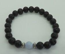 Black Lava Blue Lace Agate 8mm Gemstone Diffuser Bracelet Healing Yoga
