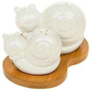 Snails Novelty Cruet Salt & Pepper Set Bamboo Animal Lovers Gift Collectable