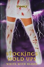 Zombie Bloody Socks Stained Stockings Hold Ups Halloween Costume Lady One Size