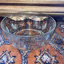 Vintage ARCOROC FRANCE SERVING BOWL CLEAR GLASS Dimpled Thumbprint Design