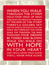 Metal Sign Liverpool football chant You'll Never Walk Alone tin door wall plaque