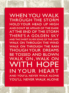 Metal Sign Liverpool football chant You'll Never Walk Alone tin door wall plaque