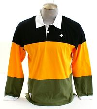 LRG Lifted Research Group Color Block Long Sleeve Rugby Polo Shirt Men's NWT