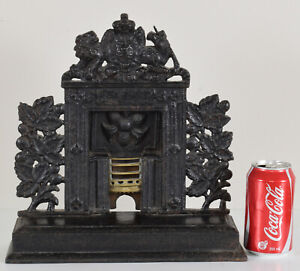 Antique Cast Iron Fireplace Door Stop with Lion and Unicorn Coat of Arms