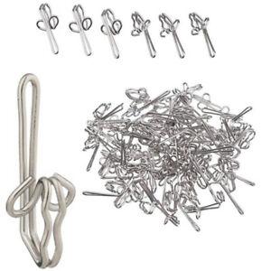 100x Metal Curtain Hanging Drapery Hooks Silver Tie Back Holder Rings Heavy Duty