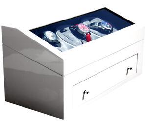 Uhrenbeweger für 6 Uhren Klavierlack WEISS-Ausstellungsstück! Neuwertig- ab 1 €!