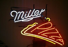 "New Miller Lite Pizza Beer Cerveza Real Glass Handmade Neon Sign 17""x14"""