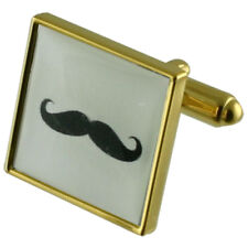 Moustache Gold Square Cufflinks With Select Gifts Pouch