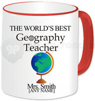 Personalised Gift Thank You Best Geography Teacher Mug Cup School Present Red