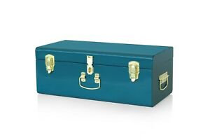 Beautify Storage Trunk Teal Metal Gold Hardware Stackable Vintage Lockable Chest