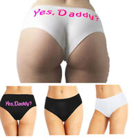 Women Yes Daddy Printed Panties Thongs Underwear Sexy Underpants Briefs G-string