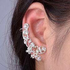1 Silver Plated Clear Crystal Butterfly Ear Cuff Clip Hook Wrap Earring Jewelry
