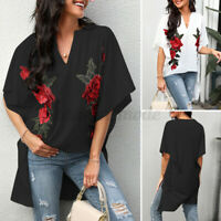 Women Embroidery Floral Short Sleeve V Neck Shirt Tops High Low Loose Blouse NEW