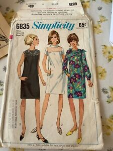 Vintage c1966  Simplicity 6835 Miss Dress Pattern  sz 18 Cut