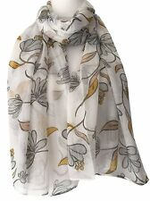 Cream Floral Scarf Ivory Grey Yellow Flowers Wrap Ladies Mustard Flower Shawl